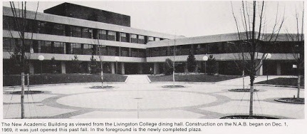 The New Academic Building (later named Lucy Stone Hall) on Rutgers' Kilmer campus (later named Livingston campus), circa 1973.