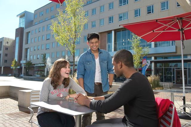 Students at Livingston Plaza. Photo by Nick Romanenko. Copyright 2014 Rutgers, The State University of New Jersey.